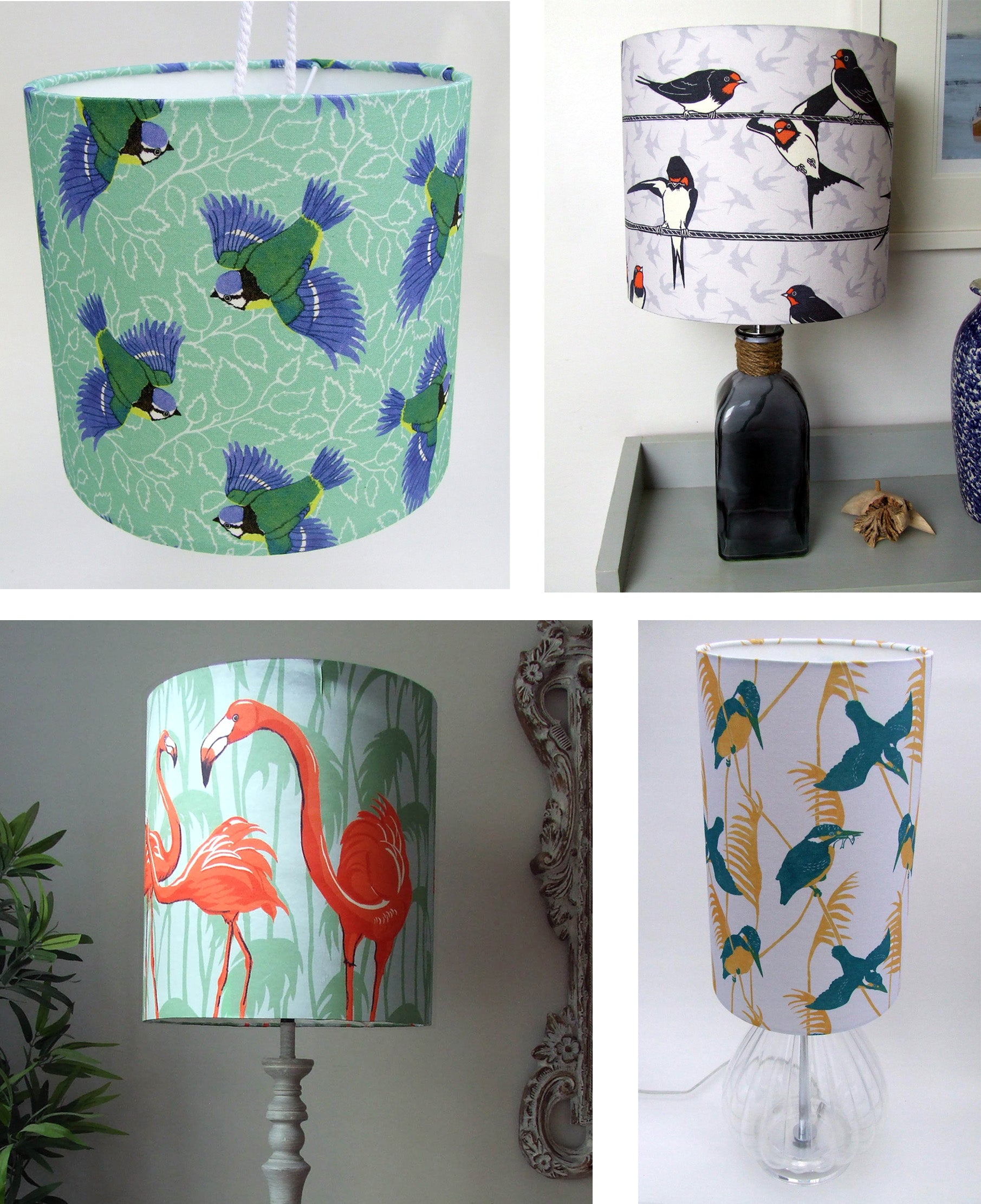 Lampshades made from Three Bears Prints Fabrics