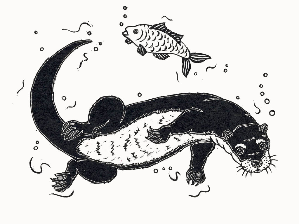 Otter Hunting Fish