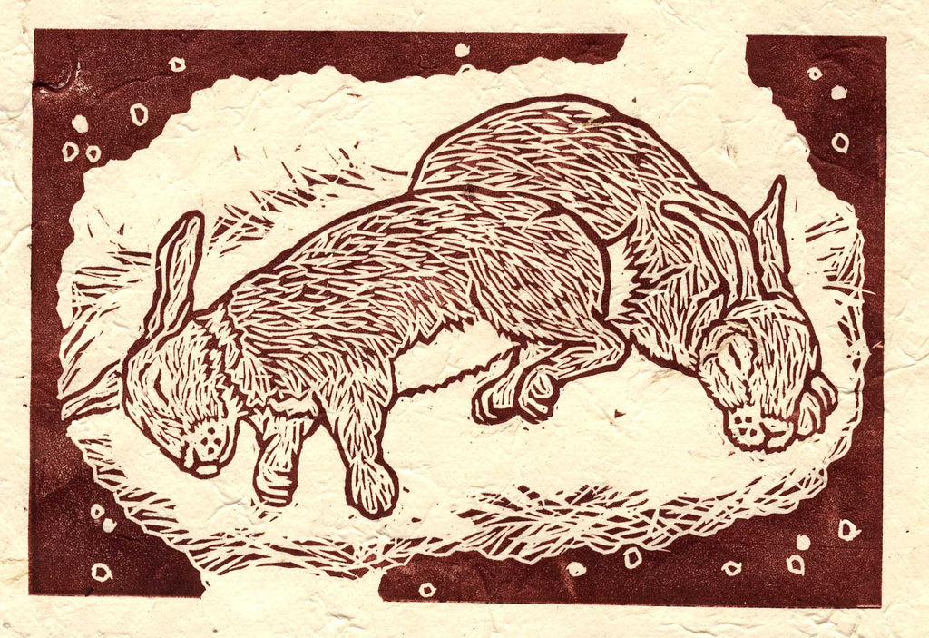 Sleeping Rabbits Linocut