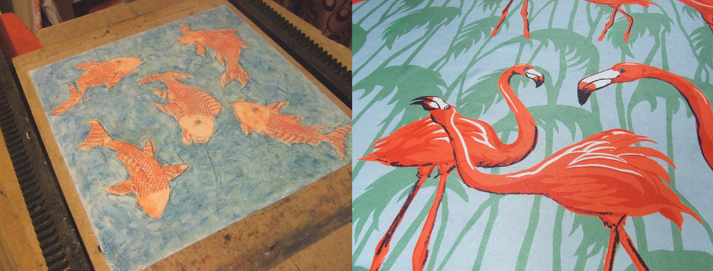 Carp Collograph and Flamingo Fabric