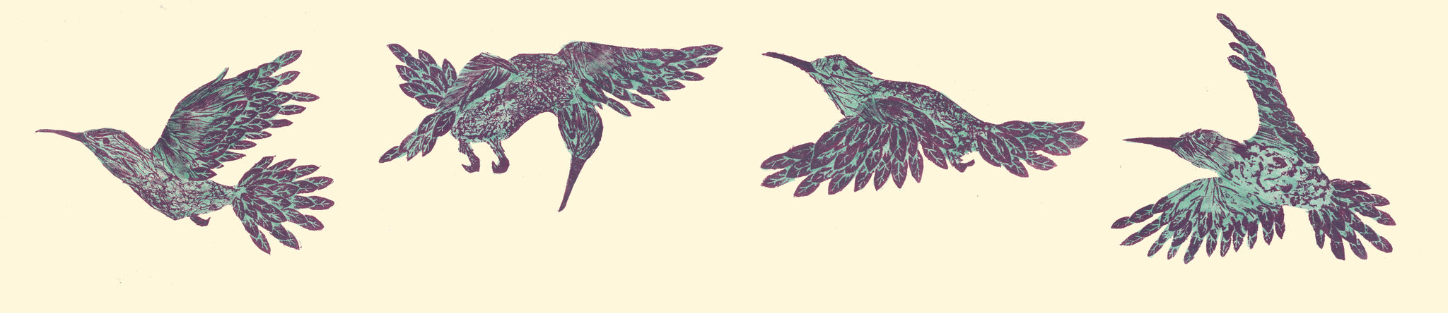 Purple and turquoise humming bird collographs