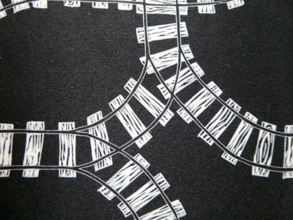 Train Tracks Fabric by Three Bears Prints
