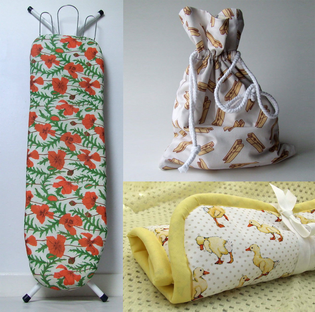 Utility items made out of Three Bears Prints fabric