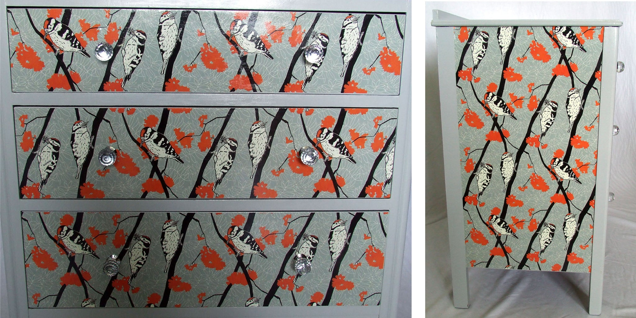 Cutting paper to decoupage furniture