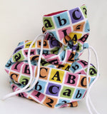 ABC and 123 Coloured Block Fabric