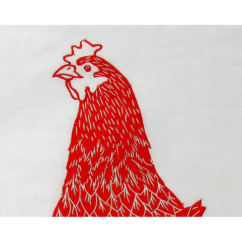 Hen Looking Back – Linocut in Red Ink