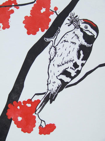 Black and Red Woodpecker Linocut