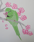 Parakeets and Cherry Blossom