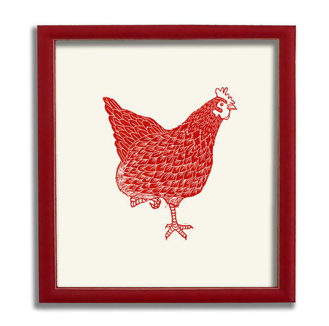 Red Hen Statement Print - Foot Up