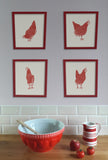 Red Hen Statement Print - Hen Looking Back