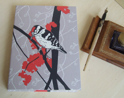 Woodpeckers and Red Berries Fabric