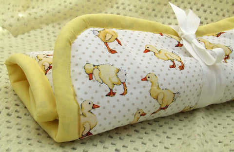 Yellow Duckling and Grey Polka Dot Fabric