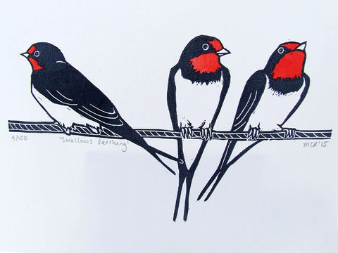 Three swallows on phone wire