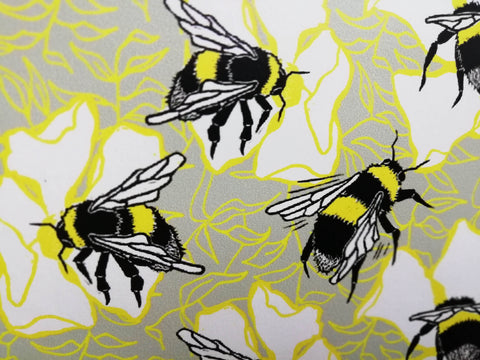 Bumblebees with Yellow and Grey Details