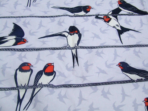 Swallows on Telephone Wire Fabric