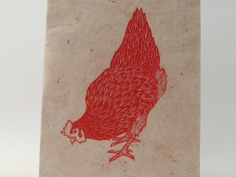 Red Hen Linocut – Head down, tail up