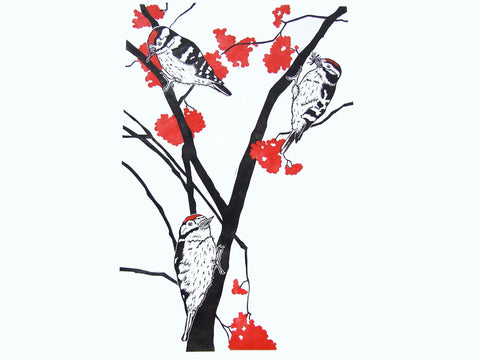 Black and Red Woodpecker Linocut Print
