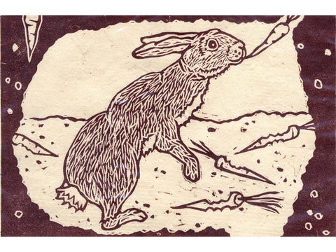 Rabbits in Burrow Print