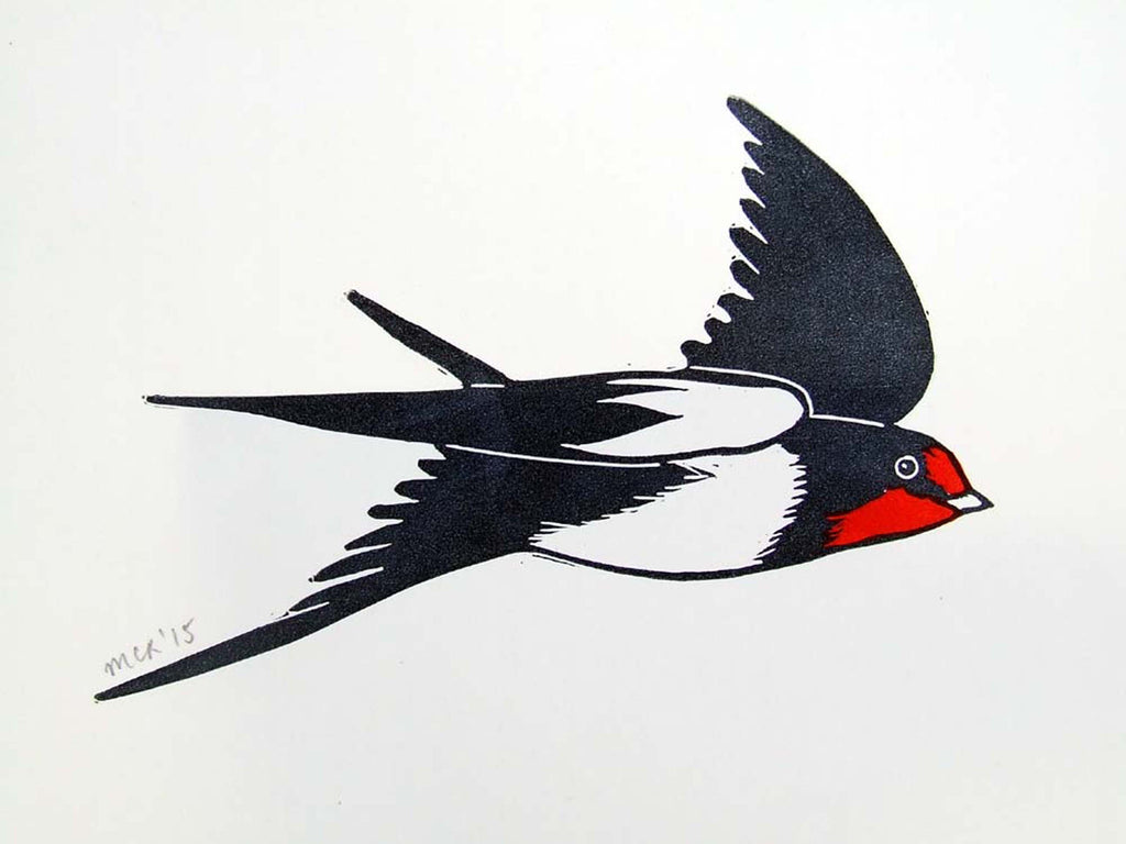 Flying Swallow Linocut
