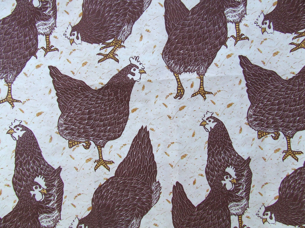 Brown Hens Fabric