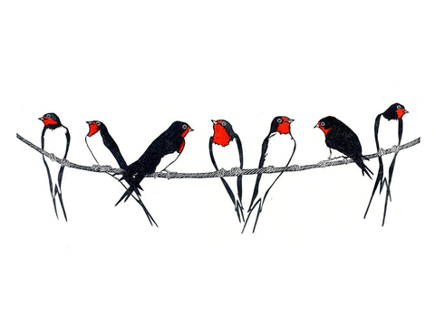 Swallows Lined up on Telephone Wire