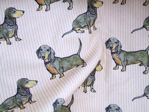 Dachshunds Red Striped Fabric