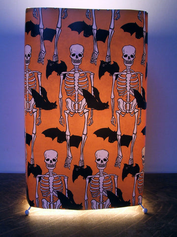 Skeleton and Bat Orange Fabric