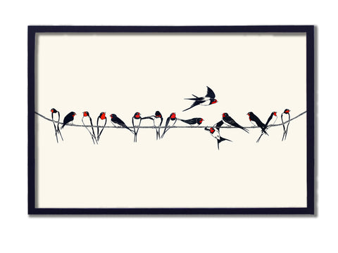 Summer Swallows on Telephone Wire.