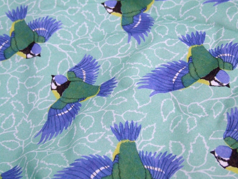 Blue Tit and Birch Leaf Fabric