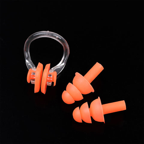 Image of Soft Silicone Swimming Nose Clips + 2 Ear Plugs Diving Swim Waterproof