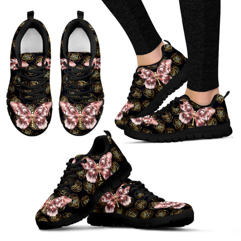 Rose Gold Butterfly Lightweight Sneakers
