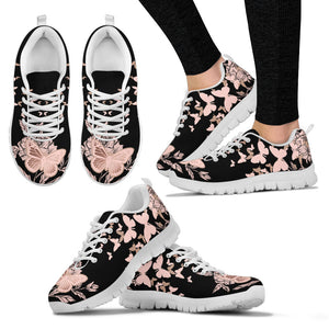Rose Gold Butterfly Sneakers for Women
