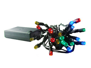 Set of 20 Battery Operated Multi LED Wide Angle Christmas Lights - Green Wire
