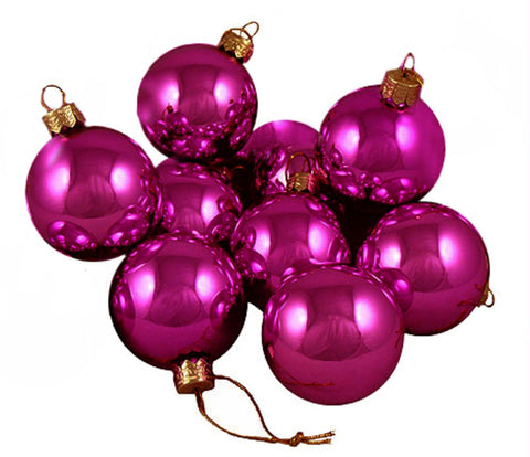 "Pack of 12 Shiny Fuschia Candy Glass Ball Christmas Ornaments 2"" (50mm)"