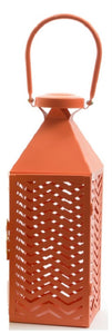 Fancy Fair Sunset Orange Chevron Patterned Pillar Candle Lantern 10""