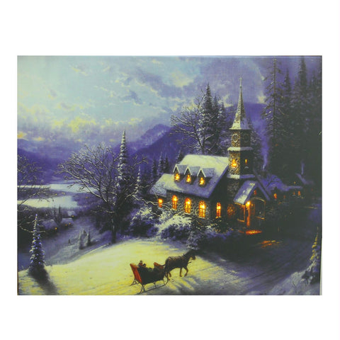 "LED Lighted Church in Wintry Woods Canvas Wall Art 15.75"" x 19.75"""
