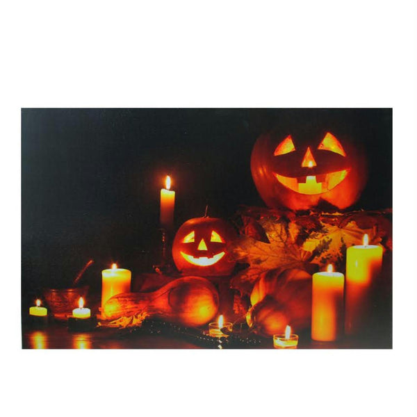 "LED Lighted Halloween Jack-O-Lanterns Fall Harvest Canvas Wall Art 15.75"" x 23.5"""