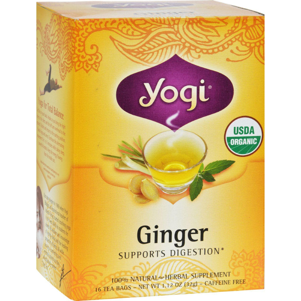 Yogi Organic Herbal Tea Caffeine Free Ginger - 16 Tea Bags - Case Of 6