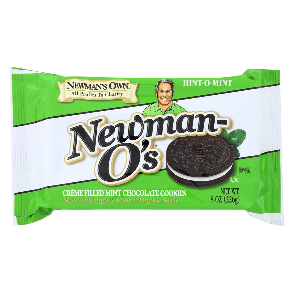 Newman's Own Organics Creme Filled Chocolate Cookies - Hint - O - Mint - Case Of 6 - 8 Oz.