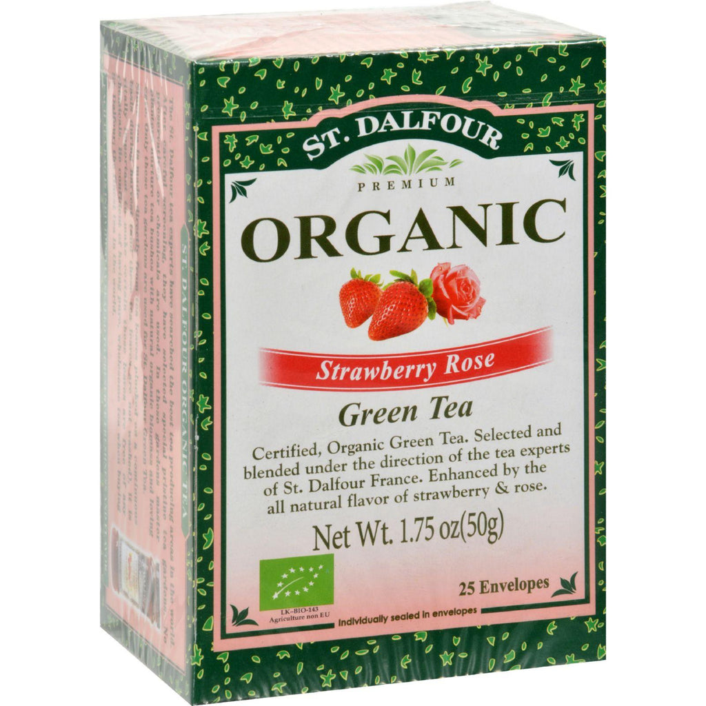 St Dalfour Organic Strawberry Rose Green Tea Strawberry Rose - 25 Tea Bags - Case Of 6
