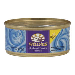 Wellness Pet Products Cat Food - Chicken And Herring - Case Of 24 - 5.5 Oz.