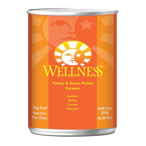 Wellness Pet Products Dog Food - Turkey And Sweet Potato Recipe - Case Of 12 - 12.5 Oz.