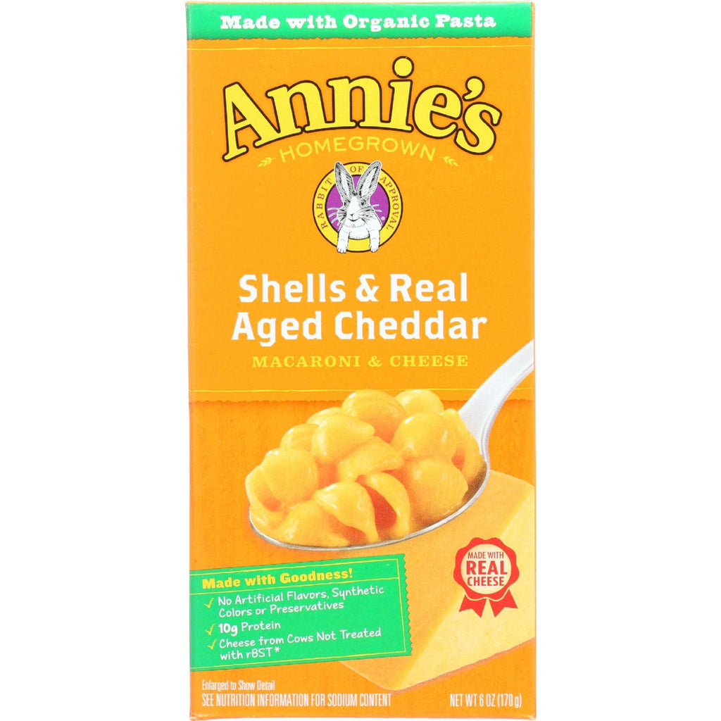 Annies Homegrown Macaroni And Cheese - Organic - Shells And Real Aged Cheddar - 6 Oz - Case Of 12