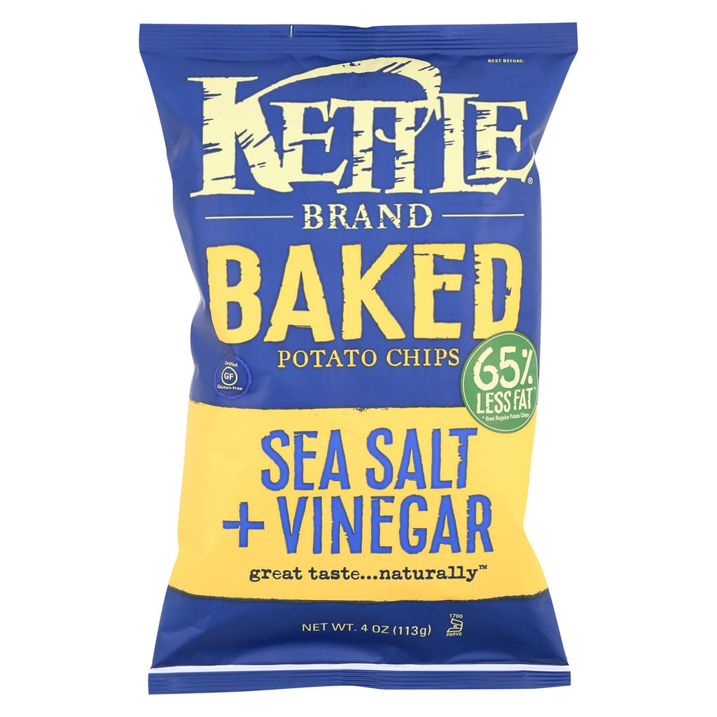 Kettle Brand Potato Chips - Sea Salt And Vinegar - Case Of 15 - 4 Oz.