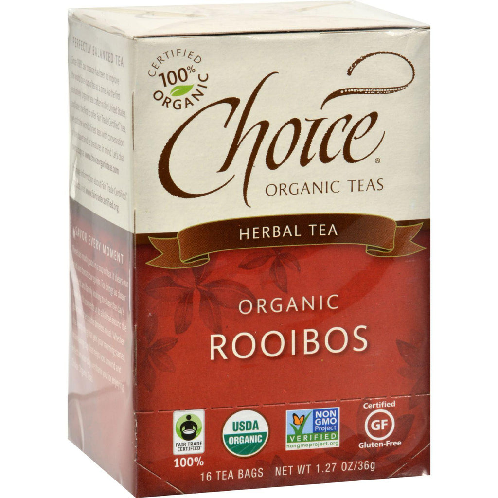 Choice Organic Teas Rooibos Red Bush Tea - 16 Tea Bags - Case Of 6