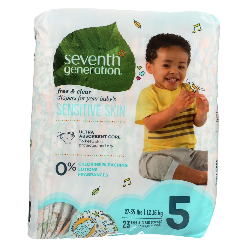 Seventh Generation Free And Clear Baby Diapers - Stage 5 - Case Of 4 - 23 Count