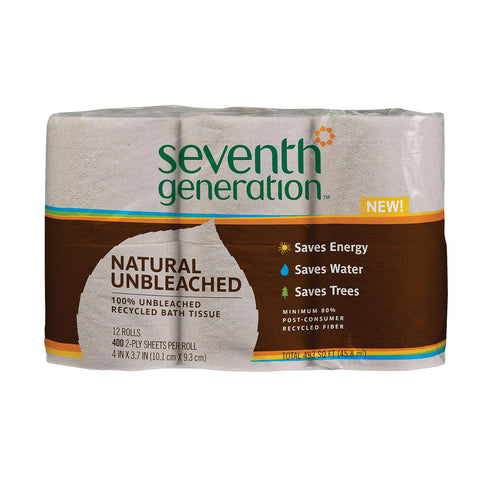 Seventh Generation Recycled Bath Tissue - Unbleached - Case Of 4 - 400 Count