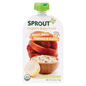 Sprout Organic Baby Food - Peach Banana Quinoa Raisin - Case Of 10 - 4 Oz.