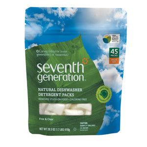 Seventh Generation Auto Dish Packs - Free And Clear - Case Of 8 - 45 Count