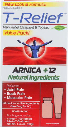 T-relief Pain Relief Ointment And Tablets - Arnica Plus 12 Natural Ingredients - Value Pack - 1 Pack